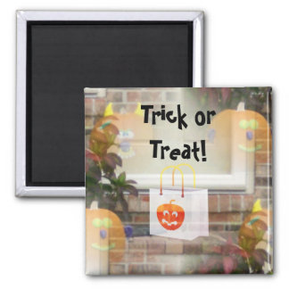 Illusionary Pumpkins with Tote Bag-Trick or Treat! 2 Inch Square Magnet