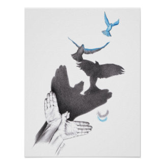 Illusions hands shadow birds Poster
