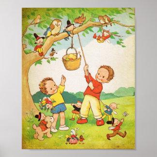 Illusta del libro de niños del vintage del poster