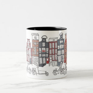 Illustrated Amsterdam and Bikes Mug