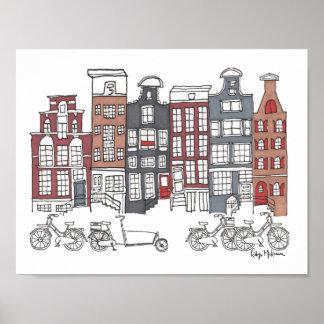 Illustrated Amsterdam and Bikes Print