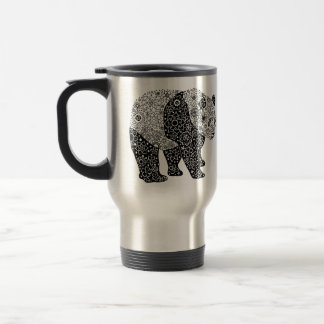 Illustrated Artsy Floral Panda Travel/Commuter Mug