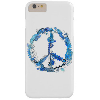 Illustrated Artsy Peace Sign Pen Art with Blue Barely There iPhone 6 Plus Case
