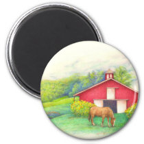 Illustrated barn with horse magnet