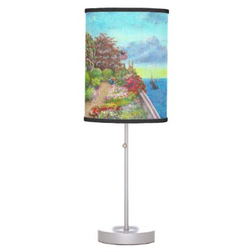 Beach Themed Illustrated Beach Cottage water's edge Table Lamp