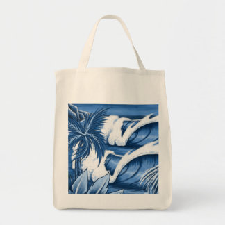 Illustrated Big Wave Tote Bags