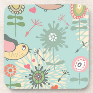 Illustrated Birds and Spring Flowers Drink Coaster