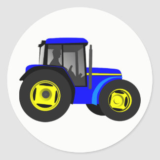 Illustrated Blue Tractor Classic Round Sticker