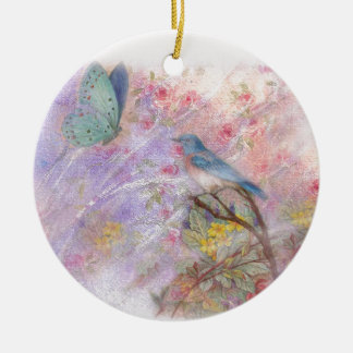 illustrated bluebird spring wedding gifts ceramic ornament