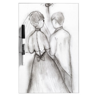 Illustrated Bride and Groom Dry Erase Board