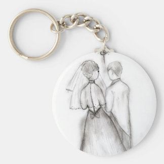 Illustrated Bride and Groom Keychain