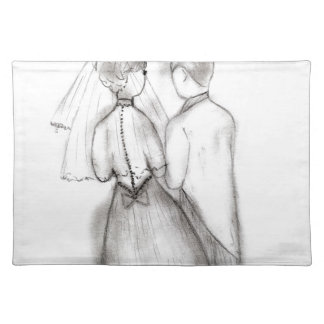Illustrated Bride and Groom Placemat
