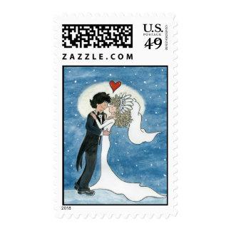 Illustrated Bride and Groom Postage Stamp