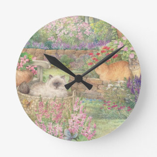illustrated cats in garden round clock