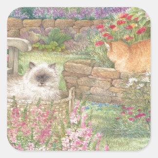 illustrated cats in garden square sticker