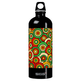 Illustrated Colorful Bullseye Pattern Aluminum Water Bottle