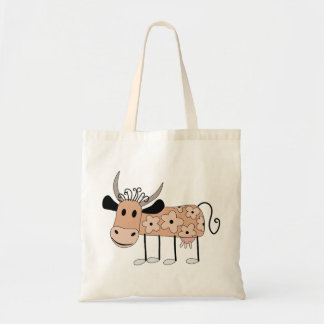 Illustrated Cow Background Tote Bag