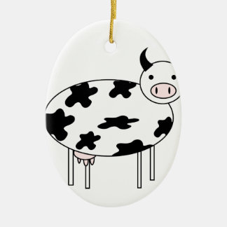 Illustrated Cow Ceramic Ornament