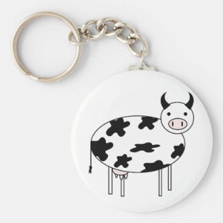 Illustrated Cow Keychain