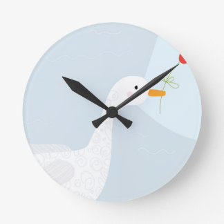 Illustrated Duck with Red Flower Round Wallclock