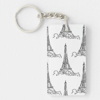 Illustrated Eiffel Tower Pattern Keychain