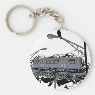Illustrated El Train & Crows Basic Round Button Keychain