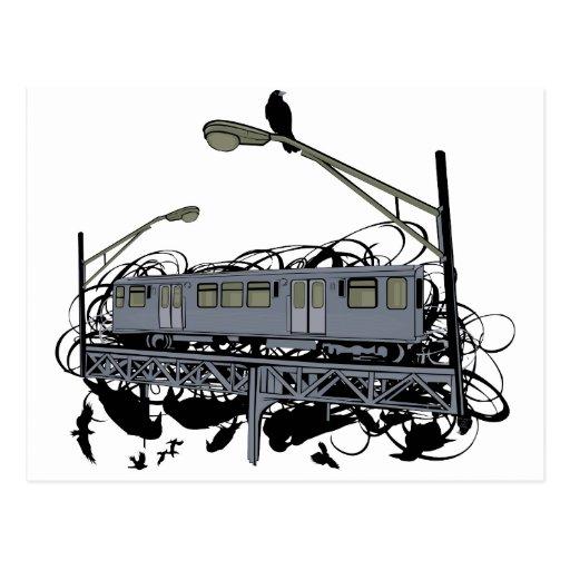Illustrated El Train & Crows Postcard