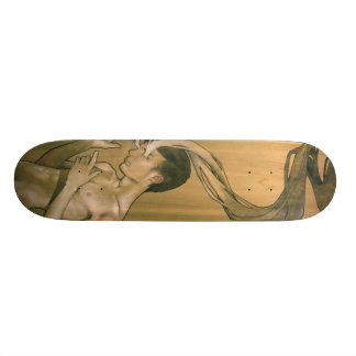 Illustrated Eyes Of Smoke Skate Board