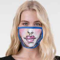 Illustrated Face Lips Mouth Funny Silly Colorful Face Mask
