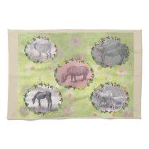 Illustrated Farm Animals on Florals Hand Towel