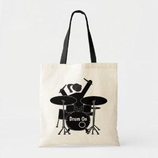 Illustrated female drummer tote bag