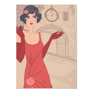 Illustrated Flapper Girl 4.5x6.25 Paper Invitation Card