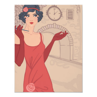 Illustrated Flapper Girl Card