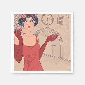 Illustrated Flapper Girl Standard Cocktail Napkin