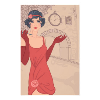 Illustrated Flapper Girl Stationery