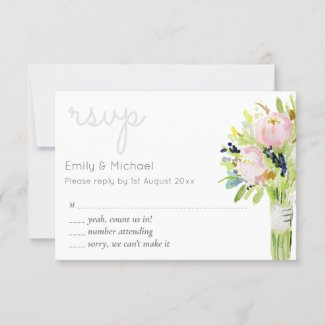 Illustrated Floral RSVP Modern and Menu Selections
