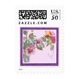 illustrated flower fairy wedding postage