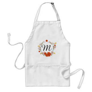 Illustrated Flower & Laurel Wreath Monogram Adult Apron