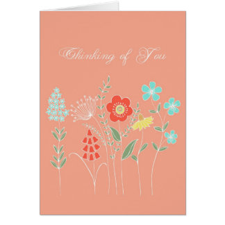 illustrated flowers thinking of you card