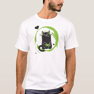 Illustrated Gamer Cat T-Shirt