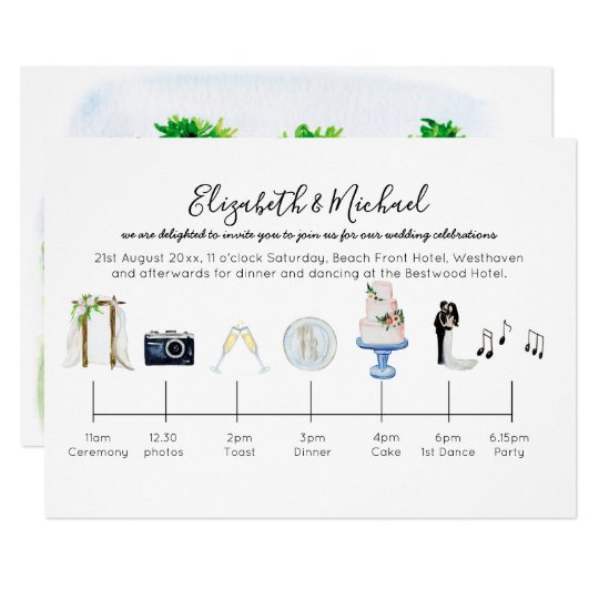 Wedding Invitation Timeline: Illustrated Garden Wedding Timeline Invitation