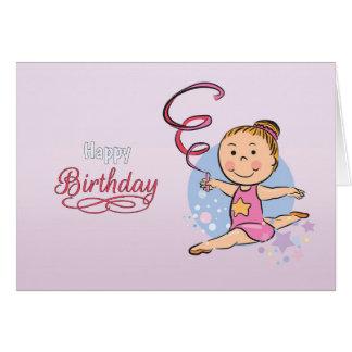 Illustrated Girl Rhythmic Gymnast Birthday Card