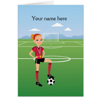Illustrated Girl s Soccer Greeting Card