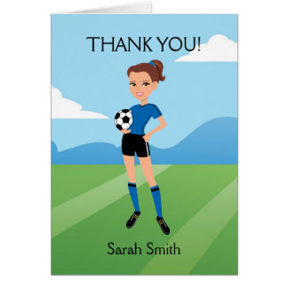Illustrated Girl s Soccer Thank You Card