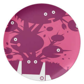 Illustrated Green Man Plate - Pink