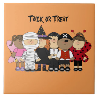 Illustrated Halloween Children dressed in costumes Tile