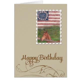 illustrated horse stars & stripes birthday card