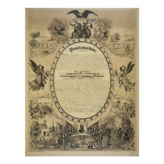 Illustrated Image of the Emancipation Proclamation Poster