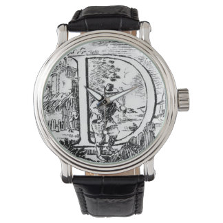 Illustrated Initial D (Italian Woodcut) Wristwatches