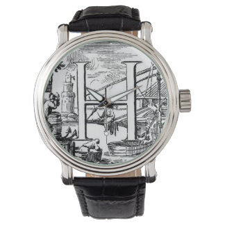 Illustrated Initial H (Italian) Woodcut Wristwatch